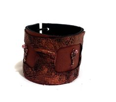 Rustic leather bracelet with key charms Statement by julishland, $20.00