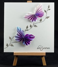 Handmade Birthday Card Butterflies ...  Also to note ... love the idea of using a miniature easel to prop the card for a photo!