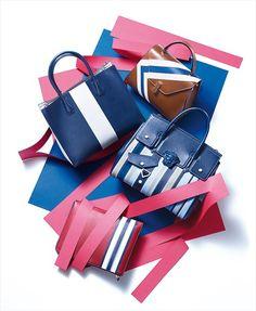 STRIPE PIECES : 네이버 매거진캐스트 Leather Handbags, Leather Bag, Fashion Bags, Mens Fashion, Product Shot, Market Bag, Red Shoes, Hermes Kelly, Purses