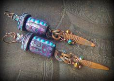 Lampwork Glass Earrings, Lori Lochner, Ragged Robyn, Primitive,Organic, Rustic, Earthy, Daggers, Beaded Earrings