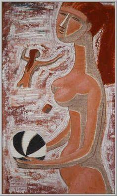 Mario Tozzi 1968: Il Gioco del Pallone (versione II°). Olio su Tela cm.56x33 - Collezione Privata Milano - Archivio numero 2083A.