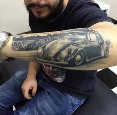 Vw Tattoo, Hot Rod Tattoo, Beetle Tattoo, Wolf Tattoo Sleeve, Car Tattoos, Watch Tattoos, Body Art Tattoos, Sleeve Tattoos, Tatoos