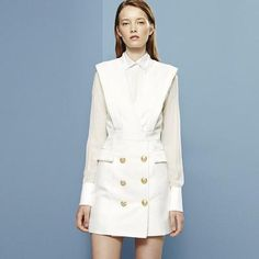 With sleek cuts, pure white becomes a razor-sharp summer option. #Balmain #Valentino #mytheresa #covetme