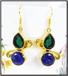 Pearl Black Onyx Gems Stones 18kt Gold Platings Earring L 1.5in Gpemul-5255 http://www.riyogems.com