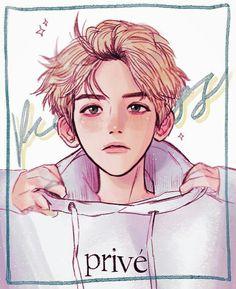 Baekhyun Fanart, Kpop Fanart, Exo Anime, Anime Art, Sunshine Wallpaper, Fan Drawing, Exo Fan Art, Sketch Painting, Gold Art
