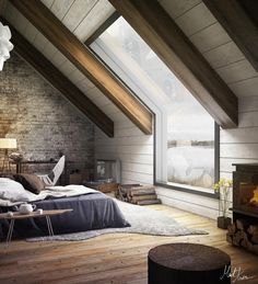 "9,404 Likes, 58 Comments - Vibeke J Dyremyhr (@interior_delux) on Instagram: ""Dreamy attic bedroom Sweet dreams everyone! #bedrooms #attic #window #bedroomdecor #soverom…"""
