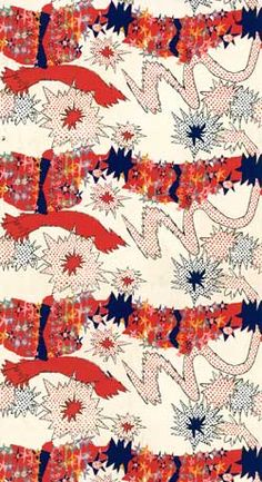 Furnishing fabric 'Gala' of machine screen-printed cotton, designed by Zandra Rhodes for Heal Fabrics Ltd. Textiles, Textile Patterns, Textile Prints, Textile Design, Fabric Design, Print Design, Print Patterns, Zandra Rhodes, Seventies Fashion