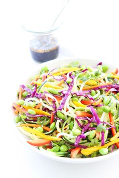Asian Cucumber Noodle Salad ...use coconut aminos instead of soy and skip the edamame to keep it whole30 compliant
