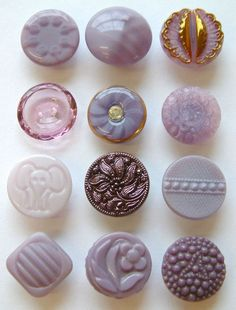 12 Vintage Purple Glass Buttons, Moonglows, Lustre, Rhinestones