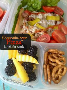 Cheeseburger Pizza for packed in our @EasyLunchboxes for lunch!