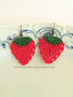 Crochet Strawberry Earrings ~ FREE Pattern (Happiness Crafty)                                                                                                                                                                                 More