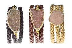 Alexandra Beth Designs- Druzy Wrap Bracelet.  This triple wrap leather bracelet features a druzy gemstone. Length is adjustable from 17-21 inches.    *Handmade in NYC   *Natural Druzy Quartz Stone   *14K Goldplated