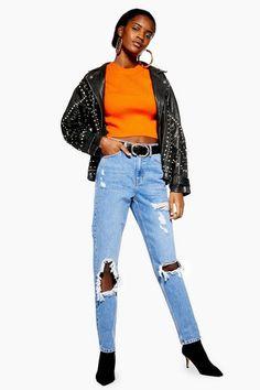 081025dafbb Womens Bleach Destroy Rip Mom Jeans - Bleach Stone