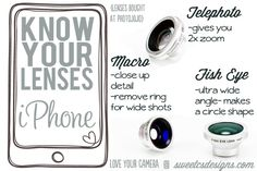 Love Your Camera- iPhone lenses you can add to get awesome effects in minutes from 2x zoom, ultra wide angle and macro! Get a fancy camera look with the camera you use all the time at a fraction of the price!