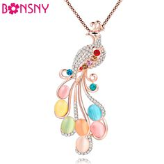 Bonsny Peacock Necklace Long Pendant  Brand Crystal Chain //Price: $16.99 & FREE Shipping //     #accessories #necklaces #pendants #earrings #rings #bracelets    FREE Shipping Worldwide     Get it here ---> https://www.myladyempire.com/bonsny-peacock-necklace-long-pendant-brand-crystal-chain/