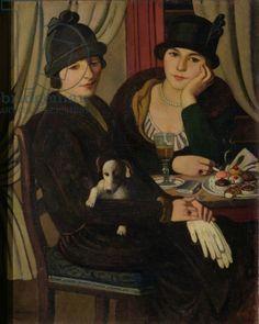 Women in a Cafe, c.1924 (oil on canvas) by Pietro Marussig / Galleria d'Arte Moderna, Milan