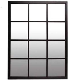 Classic Black Windowpane Mirror 23 by Patton Wall Decor Mirror With Shelf, Window Mirror, Wall Mounted Mirror, Iron Windows, Black Windows, Wood Slat Wall, Cool Mirrors, Interior Windows, Statement Wall
