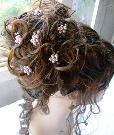 wireandice rosaline flower hair pin wedding by wireandice on Etsy, $44.97