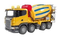 Bruder Scania R-Series Cement Mixer Truck by Bruder. $56.02. Scale 1:16. Suitable for playing indoors and outdoors. Manufactured from high-quality plastics such as ABS. Made in Germany. Incredible realistic detail. From the Manufacturer                New Scania has realistic cement mixing truck for hours of fun! Operate the crank to make the cement mixer actually spin. Door's open for easy access to the Operator's Cab or tilt cab forward to view the engine in full det...