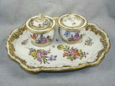 Antique-Hand-Painted-Ludwigsburg-Porcelain-Two-Pot-Inkwell-Dresden-Flowers