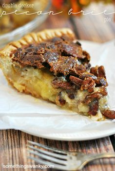Double Decker Pecan Brie Pie Recipe ~ Says: One pie crust, a layer of brie cheese, another pie crust, and a layer of pecan pie filling. That's what's in this whopper of a pie! Two full layers of pie means double the delicious!! Trust me, you want to add this to your holiday line up... plus it's simple!