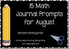 Freebie: August Math Journals for Kindergarten (CC aligned)