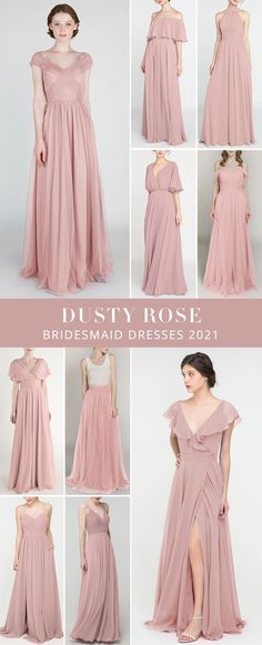 Wedding color ideas with mixing and matching dusty rose bridesmaid dresses in side slit, V neck, off the shoulder... Dusty Rose Bridesmaid Dresses, Wedding Dresses, Long Shorts, Wedding Colors, Tulle, Cute Outfits, Bridal, Clothes, Fashion