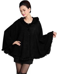 Aphratti Womens Winter Wool Wrap Coat with Hooded Faux Fur Trim Cape One Size Black * Check out the image by visiting the link. (This is an affiliate link)