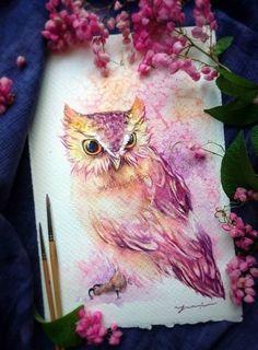 New Bird Drawing Tattoo Owl Art 60 Ideas Watercolor Flower, Watercolor Tattoo, Watercolor Paintings, Owl Paintings, Painting Canvas, Diy Painting, Watercolor Paper, Beautiful Owl, Beautiful Drawings