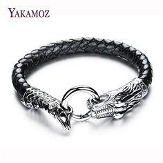 2017 Mens Bracelets Stainless Steel Dragon Titanium Bracelets & Bangles For Men Black Woven Leather Bracelets Men Jewelry