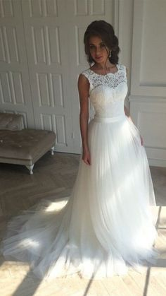 Simple Lace Open Back Sleeveless A-line Wedding Dresses with Sash
