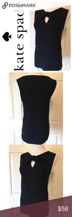 "KATE SPADE POMONA BLACK TANK TOP ♠️Beautiful Kate Spade Black Pomona Tank TopKey hole neck with bowSize Medium:  32"" bust, 25"" lengthFabric: 95% cotton, 5% elastane Hand WashNO tradesSmoke Free HomeBundle discount: 10% off two, 15% off threePlease visit our wonderful friend Molinda @molinda25For more Kate treasuresThank you for stopping by kate spade Tops Tank Tops"