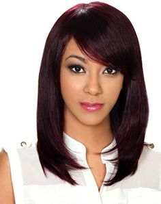 100% Remy Human Hair Wig by Zury Sis. Length: Medium Style: Straight Layered Pageboy, Side Swept Bang, Soft Silky Yaky Texture Color Shown: 99J
