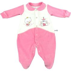 Macacão Longo de Plush Bebê Menina com Gola Pezinho Bordado e Botões 6455da98764