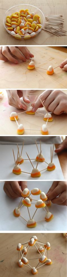 """""""Candy Corn Geodesic Dome"""": With fun Halloween-themed gum drop candies and toothpicks, kids can explore geodesic domes. [Source: Science Buddies, http://www.sciencebuddies.org/blog/2014/10/candy-corn-geodesic-dome.php?from=Pinterest] #scienceproject #STEM #familyscience #halloween"""