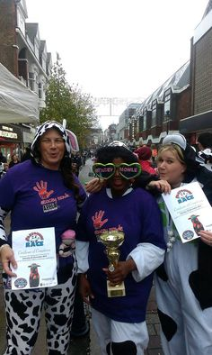 Celebrating wining the Cow Race with the lovely Asda Jacqui and Rose