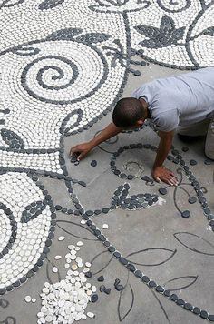 Garden Pathway Pebble Mosaic , start with cementIdeas