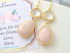 Pink Gold Drop Earrings Hollywood Style Bridal by Crystalshadow