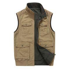 ddeabd9e473 Mens Mutil Pockets Outdoor Travel Cotton Vest Plus Size  Vest  Plus  Size