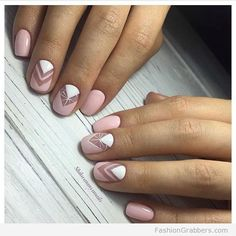 Soft and ladylike pale pink manicure with geometric design