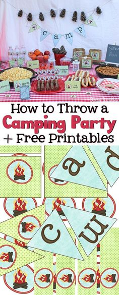Throw a Camping Themed Party! Love to go camping but can't leave home? Host a camping party in your backyard with these free camping themed printables. Perfect for a birthday party or movie night. These free printables include a camp banner, water bottle Camping Party Foods, Camping Parties, Camping Theme, Camping Meals, Camping Games, Camping Store, Camping Packing, Camping Outfits, Camping Essentials
