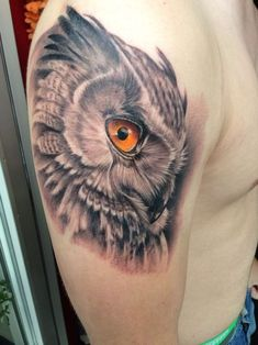 Owl, done by Vincent.Tattoomania, Apeldoorn, The Netherlands