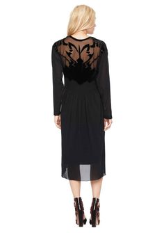 Burnout Velvet Long Sleeve Dress | Women's Designer Clothes | Nicole Miller Official Site