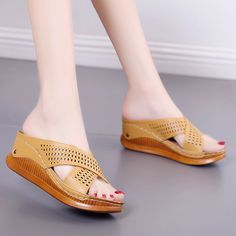 Load image into Gallery viewer, Large Size Women Summer PU Pure Color Breathable Hollow-out Soft Platform Sandals Low Heel Sandals, Peep Toe Heels, Women's Shoes Sandals, Buy Shoes Online, Leather Slippers, Brown Heels, Sandals For Sale, Types Of Shoes, Casual Shoes