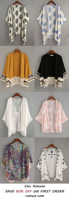 Anytime I see a kimono I get it. I love a good kimono. They dress up anything. My standard outfit is black leggings, black or grey shirt and a kimono if I a want to dress it up. Hijab Fashion, Boho Fashion, Fashion Dresses, Womens Fashion, Fashion Trends, Older Women Fashion, Fall Fashion, Fashion Tips, Mode Kimono