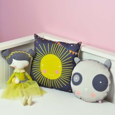 doll Aurora, sun cushion and panda pillow for a happy kids room - by PinkNounou