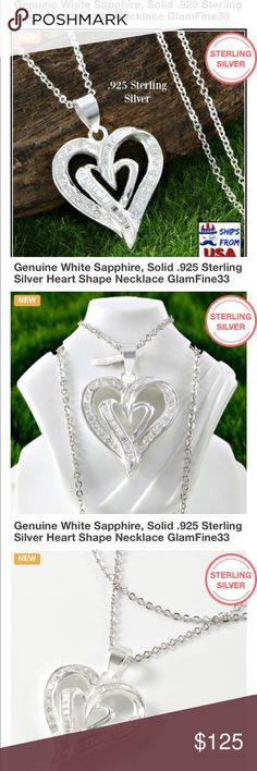 """NEW GENUINE WHITE SAPPHIRE PENDANT AND CHAIN GORGEOUS NEW PENDANT WITH .17 TCW ROUND AND BAGUETTE CUT WHITE SAPPHIRES (measures 1 1/4"""") SET IN SOLID 925 STERLING SILVER!! CHAIN IS STERLING SILVER APPROX 18"""" WEIGHS 4.5 GRAMS includes velvet gift box Jewelry Necklaces"""