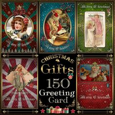 150 Greeting Christmas cards in vintage style.   #card #vintage #christmas #elegance #gift #gosstudio #vintagestyle #greetingcards‬ #christmasgifts . ★ We recommend Gift Shop: http://www.zazzle.com/vintagestylestudio ★