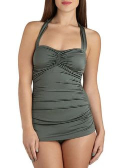 Bathing Beauty One Piece in Sage, #ModCloth
