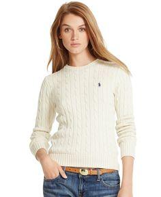 Polo Ralph Lauren Cable-Knit Crew-Neck Sweater - Polo Ralph Lauren - Women - Macy's (small) (white)